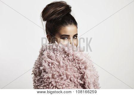 Woman In Pink Faux Fur Jaket Watching In Camera.