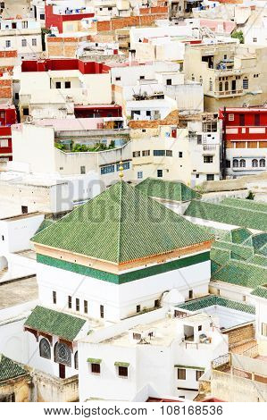 Aerial view of Moulay Idriss, the holy town in Morocco, named after Moulay Idriss I, arrived in 789 bringing the religion of Islam
