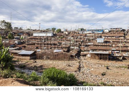 Kibera slum, the largest urban slum in Africa