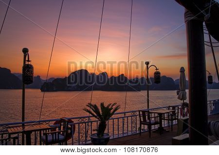 Beautiful sunset from boat in Ha Long Bay, Vietnam