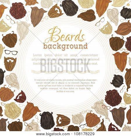 Vector Background Of Hipster Beards And Eyeglasses.