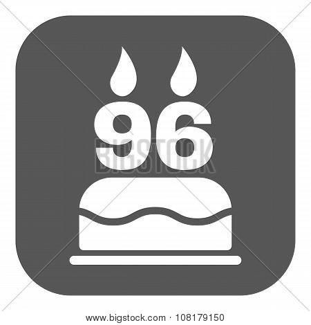 The birthday cake with candles in the form of number 96 icon. Birthday symbol. Flat