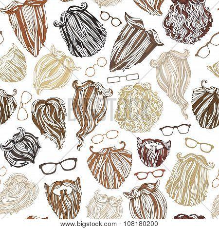 Seamless Pattern Of Fashion Man Beards And Eyeglasses.