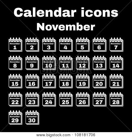 The calendar icon.  November symbol. Flat Vector illustration. Set poster