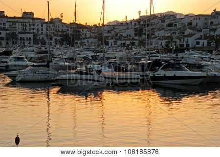 Puerto banus marina at sunset.