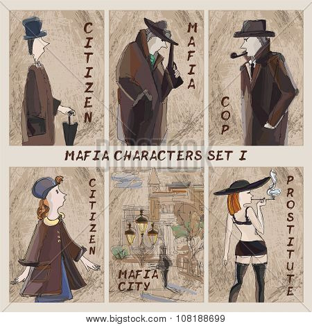 Mafia City Characters Set.cardgame. Citizen, Mafia, Cop, Prostitute
