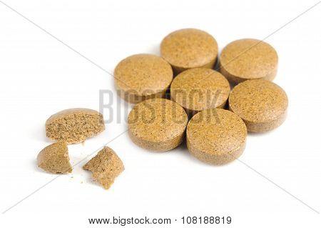 Herbal Valerian Pills Isolated On White Background