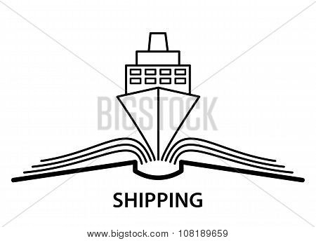 The concept of the book pages and ship.