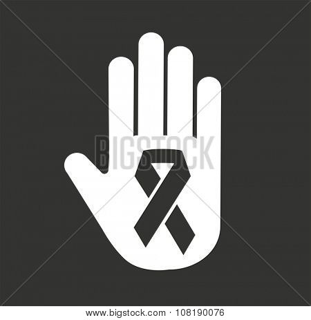 Stop cancer medical logo icon concept. Cancer black ribbon, breast cancer awareness symbol, isolated on background. Vector cancer ribbon for people cancer and human hand. Medical clinics concept logo