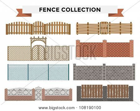 Different designs of fences and gates isolated on a white background. Fences and gates illustration. Fences and gates vector isolated. Wooden fence, metal fence, stone fence. Fence house buildings