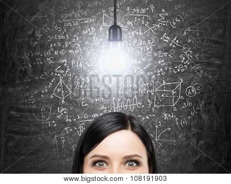 A Forehead Of Brunette Woman Who Is Thinking About Solution Of Complicated Math Problem. Math Formul