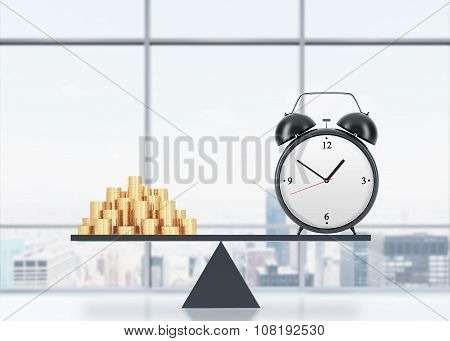 A Balance Between Time And Money. On The One Side Is Money, On The Other One Is An Alarm Clock. The