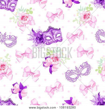 Violet Carnival Masks, Small Floral Bouquets With Bows Seamless Vector Pattern
