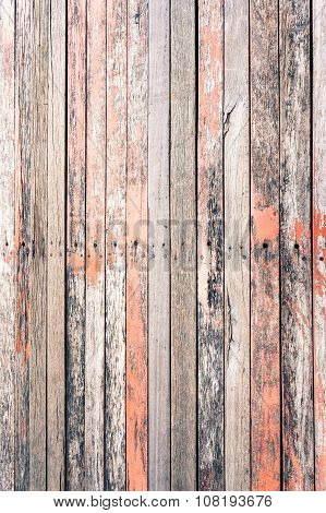 Red Rustic Woodden Board With Knots And Nail Holes, Vintage  Background