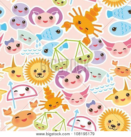 Seamless pattern Funny Kawaii zodiac sign, astrological stiker set  virgo, aries, gemini, cancer, aq