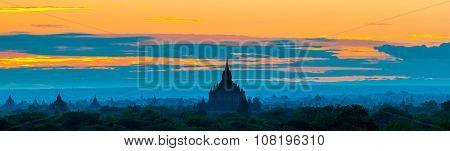 Sunrise over Bagan temples in panorama Myanmar.