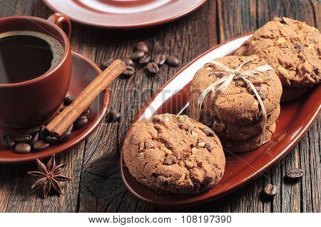 Chocolate Cookies And Coffee
