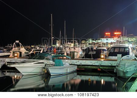 Puerto Banus marina at night.
