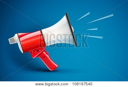 Megaphone loud-speaker for voice amplification. vector illustration. Transparent objects used for lights and shadows drawing.
