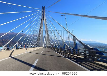 suspension bridge crossing Corinth Gulf strait, Patra, Greece. I
