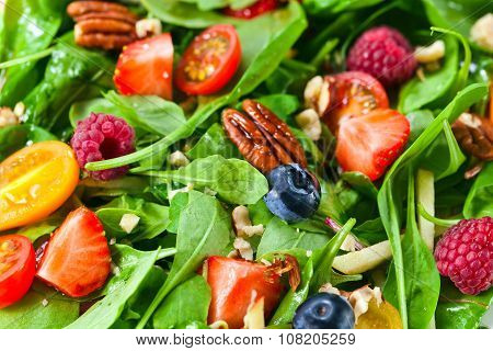 Vegan Salad With Berries And Nuts