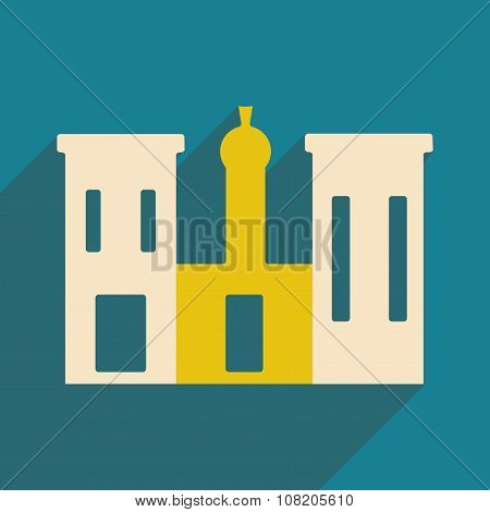 Flat with shadow icon and mobile application palace Egypt