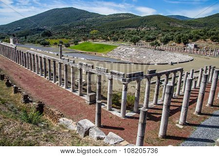 stadium in the city of Ancient Messina, Peloponnes, Greece, hdr photo