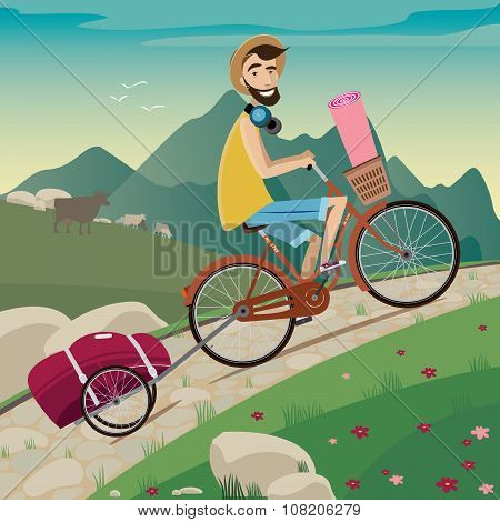 Backpacker In The Cycling Tour In The Mountains