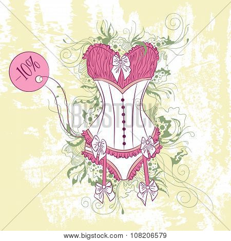 Decorative Fashion Illustration Of Women's Corset Underwear