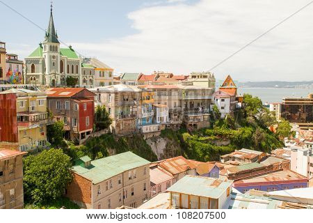 VALPARAISO - NOVEMBER 07: Architecture details in the colourful districts of the protected UNESCO World Heritage Site of Valparaiso on November 7, 2015 in Valparaiso, Chile
