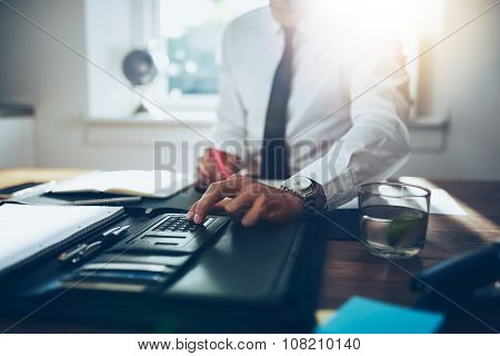Close Up, Business Man Or Lawyer Accountant Working On Accounts