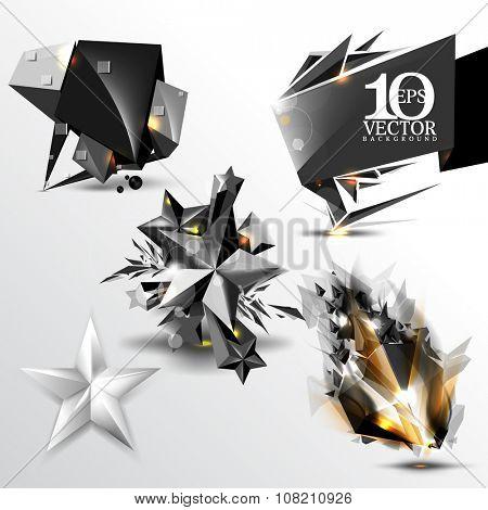 set of 3d black and chrome metallic elements, star, comet, frame clip-art background illustration