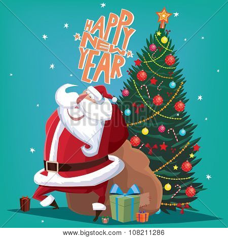 Happy New Year Red Father Christmas With Spruce