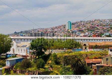VALPARAISO - NOVEMBER 07: Aerial view of the protected UNESCO World Heritage Site of Valparaiso on November 7 2015 in Valparaiso Chile