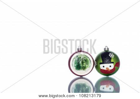 Snowman Baubles With Snowglobe With Christmas Tree Inside