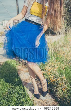 Pretty young girl in tut blue pettiskirt