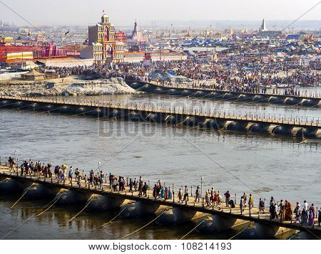 Aerial View Of Kumbh Mela Festival In Allahabad, India