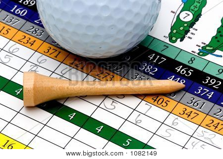 Golf Scorecard, Tee, And Ball