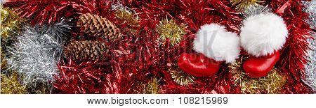 Santa Claus Boots - Christmas Panorama with Tinsel.