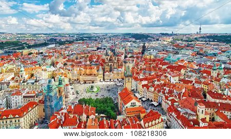 Area Old Town Of Prague, Over Center Of The City. Czech Republic.