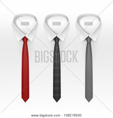 Set of Tied Striped Colored Silk Ties and Bow Collection Vector Realistic Illustration Isolated on W