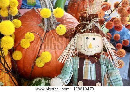 Scarecrow Posing in Fall Display
