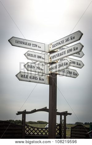 Directional Road Sign, Normandy, France