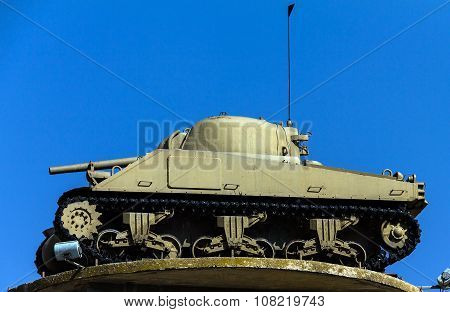 The Tank On The Tower- American M4 Sherman. Latrun, Israel
