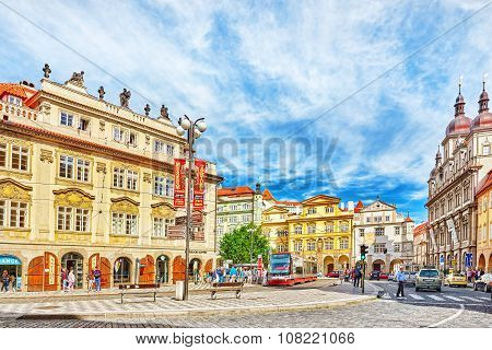 Prague, Czech Republic-september 5, 2015: Malostranske Namesti-main Square Of Prague's Mala Strana(l