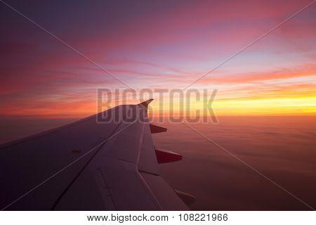 Beautiful Sunrise out of Plane Window