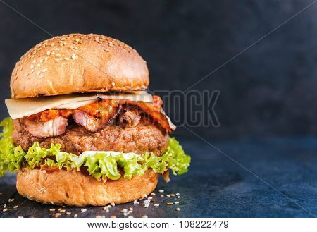 Beef burger in the bun with bacon pepper sauce on dark background with blank space poster