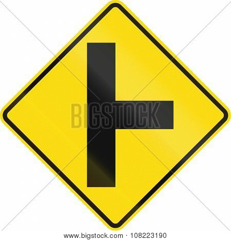 New Zealand Road Sign - Side Road Junction Uncontrolled On Right