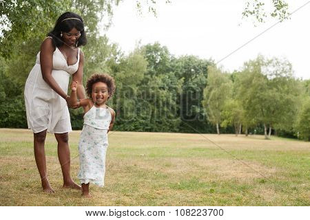 African Girl And Mother Are Having Fun