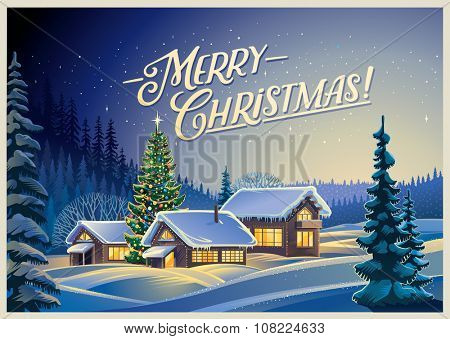 Winter forest landscape with houses and Christmas tree.